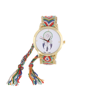Image 5 - ZHINI Watches Stripe Handwoven Strap Wrist Relojes Vintage Wind Pattern Decorated Hand woven Strap Design Fabric Ladies Watches