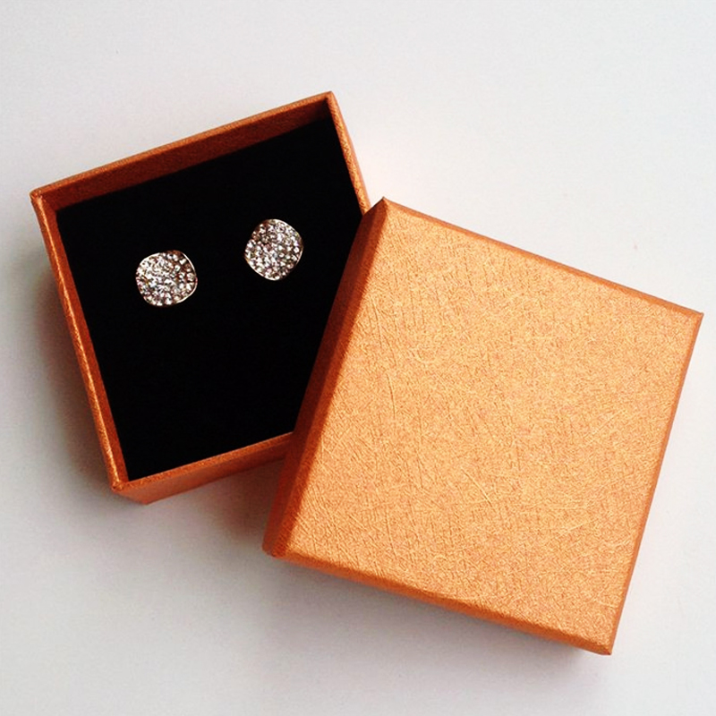 10pcslot 8x8x3cm Orange Earring Ring Gift Boxes With with Sponge