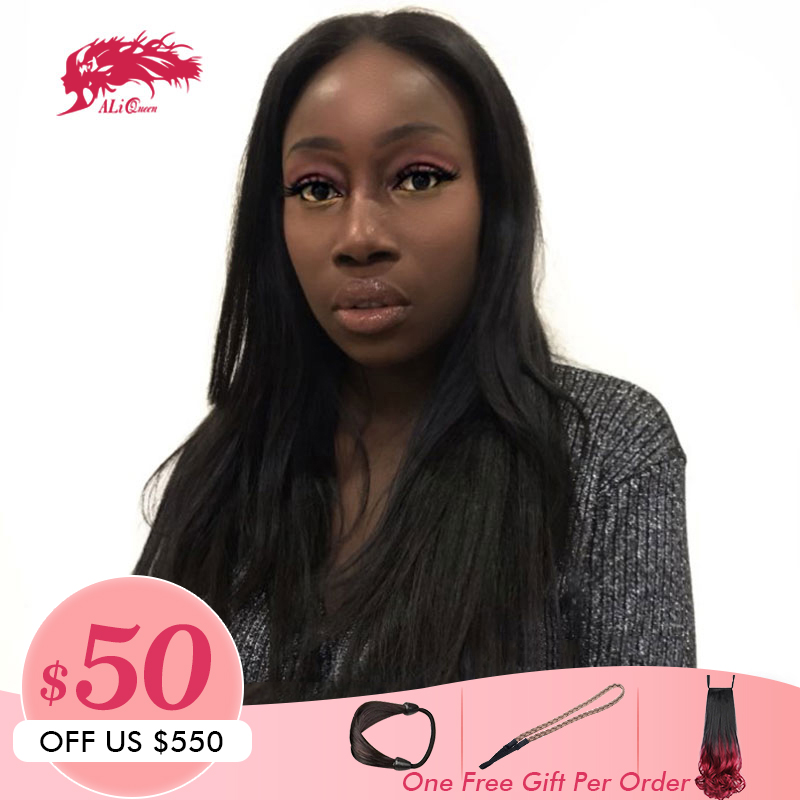 Ali Queen Hair Brazilian Remy Hair Straight Full Lace Wigs Pre Plucked Human Hair With Baby