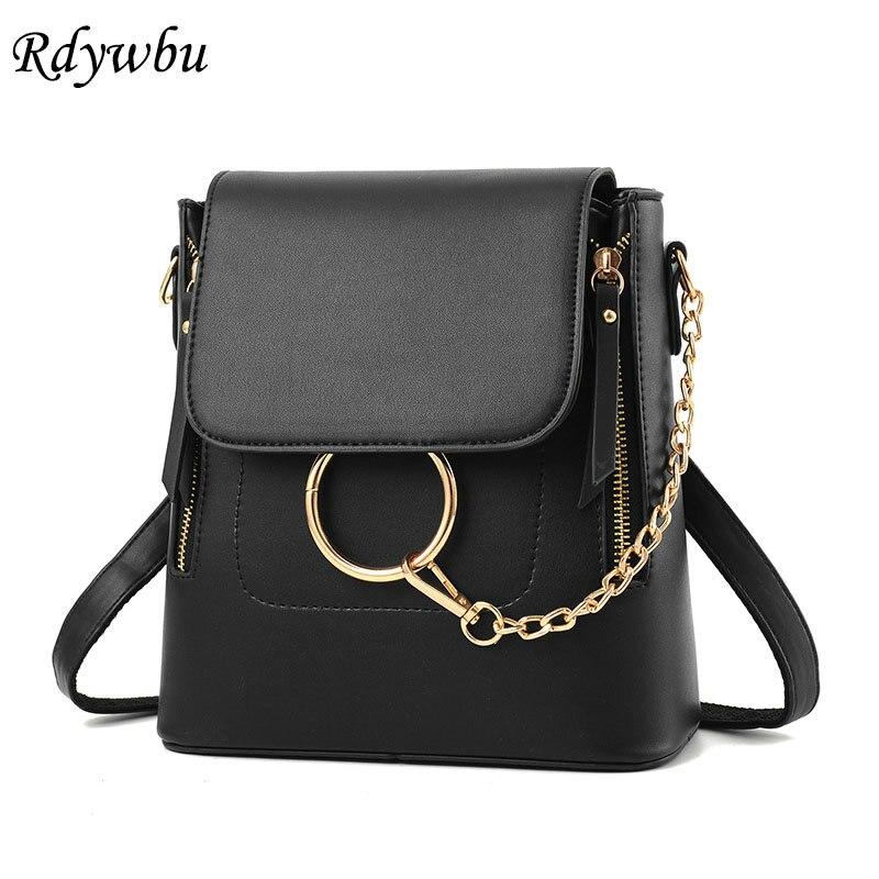 Rdywbu Fashion Multifunctional Backpack With Metal Ring Women Chain PU Leather Shoulder Bag Teenager Mini School Bag Bolsas B244