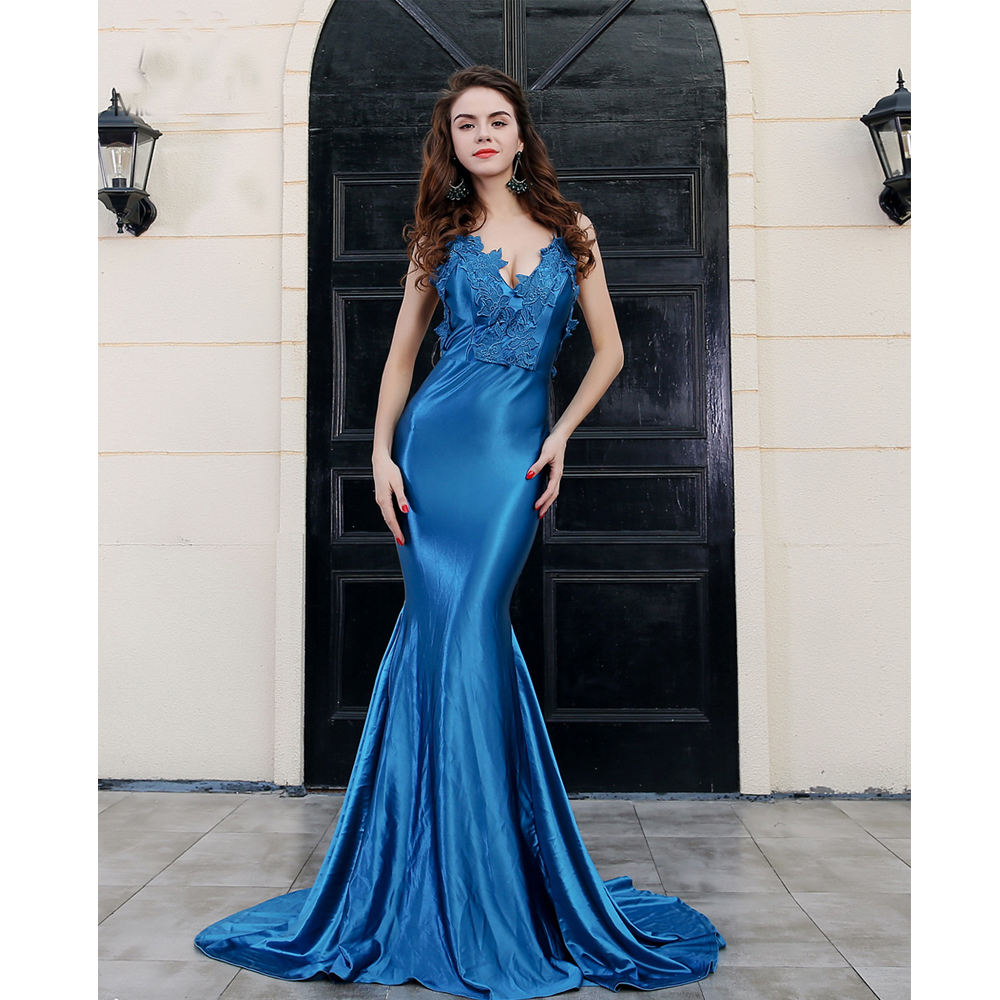 Sexy Lace Red Vestidos Blue V Neck Sleeveless Open Back Fishtail Dress For Women Long Party