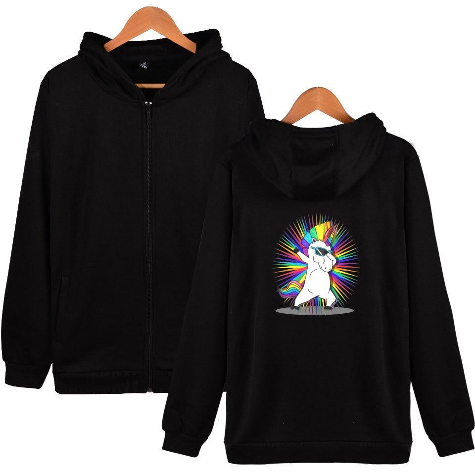 Dabbing Unicorn coats and jackets animal print plus size tops long sleeve coat cosplay jacket zipper hoodies and sweatshirts