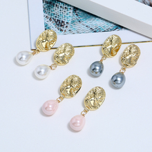 Bohopan New Arrival Elegant Dangle Earrings Fashion Abstract Face Pearl Party Water Drop Pendant For Women