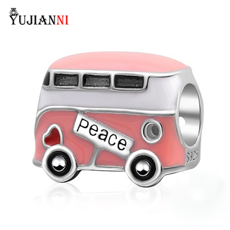 Peace Bus Charm Bead with Pink Enamel Original 100% Authentic 925 Sterling Silver Beads fits Pandora Charms Bracelets 2015 new spring 925 sterling silver pumpkin charm with gold and cz bead fits pandora bracelets in stock 1pc lot b520