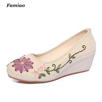 Sapato Feminino National Casual Flowers Ladies Pumps New 2016 Summer Shoes Hemp Slip On Wedges Women