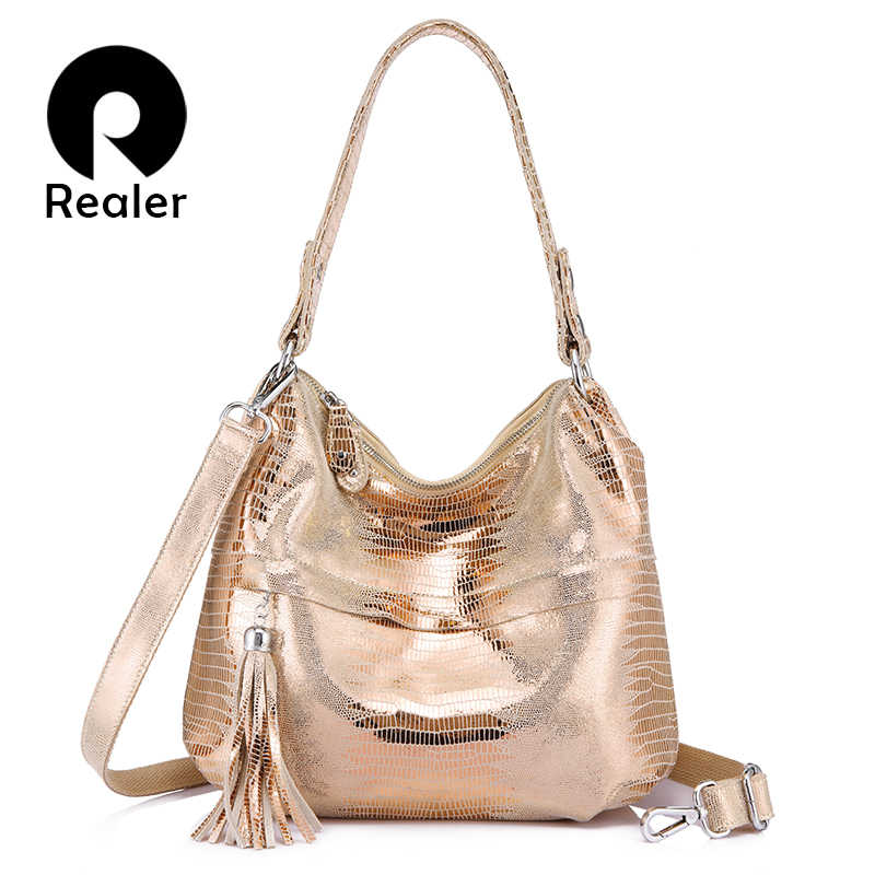 REALER women shoulder bag genuine leather female crossbody bags ladies handbags fashion animal prints tassel chains sequined