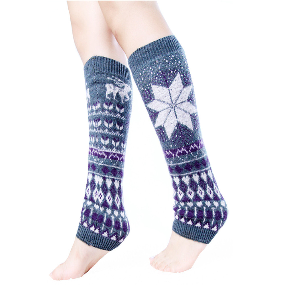 KANCOOLD Women's Socks Autumn Snow Deer Cable Knit Leg Warmers Hosiery Comfortable Breathable Cotton Socks  Mar21
