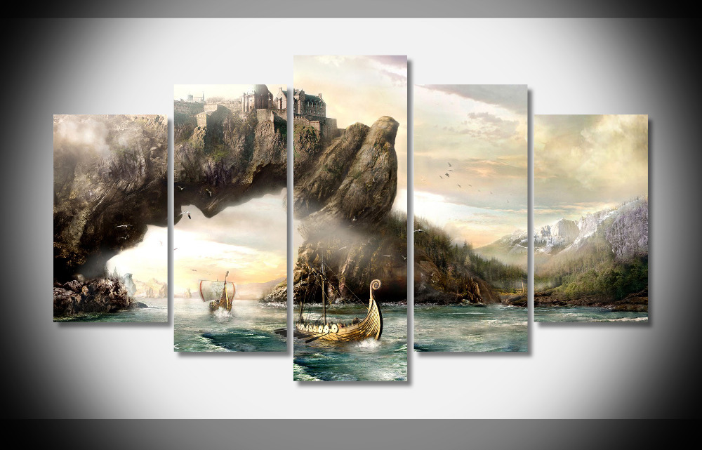 8333 Vikings Sailing Boats Ships Landscapes Mountains Fantasy poster Framed Gallery wrap art print home wall decor wall picture