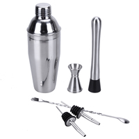 Hot Stainless Steel Cocktail Shaker 6pcs Bar Tool Set Wine Drinking Mixer Bar Shaker Cup For Party Ballet Practical Bar Tool