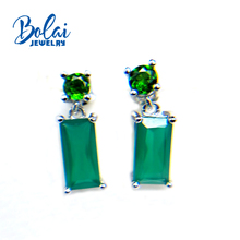 bolaijewelry,2018 new natural green gemstone agate and chrome diopside earring 925 sterling silver fine jewelry for women gift podium ошейник узкий с шипами и заклепками