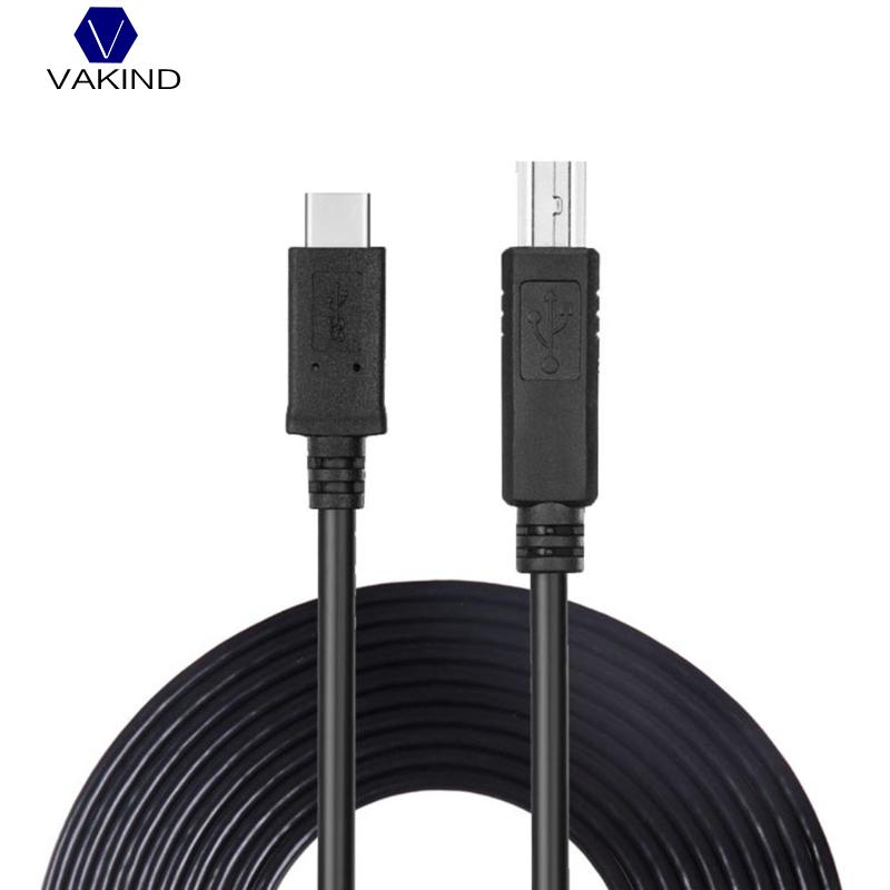 VAKIND 5m Type-C USB3.1 Male Connector To USB 2.0 B Type Male Data Cable Type C Printer Wire Cord For Macbook Laptop Printer цены