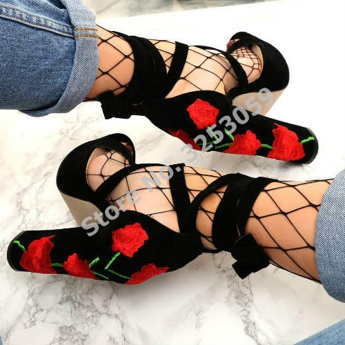ALMUDENA Factory Real Photo Exquisite Red Flowers Chunky Heel Platform Sandals Embroidery Lace-up Wedding Shoes Cross Strappy