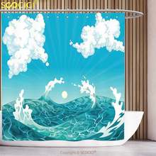 Waterproof Shower Curtain Nautical Foamy Ocean Waves with Fluffy Clouds in Air Sun Summer Sea Display Sky Blue White Turquoise(China)