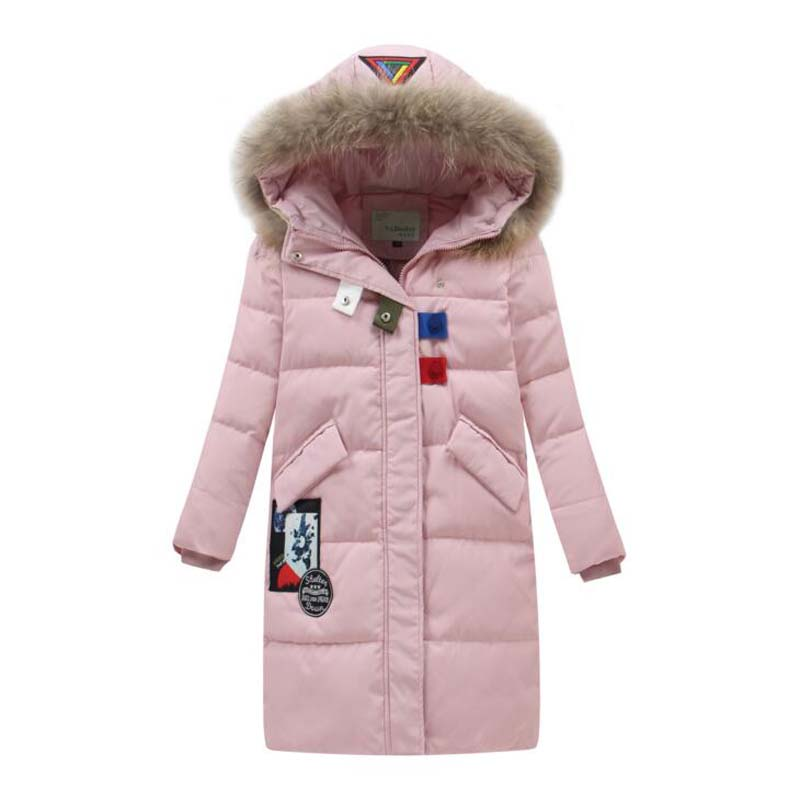 Russian winter Children's White Duck Down Jackets casual kids long coats hooded boys girls fur collar outdoor ski outwear 5-14Y casual 2016 winter jacket for boys warm jackets coats outerwears thick hooded down cotton jackets for children boy winter parkas