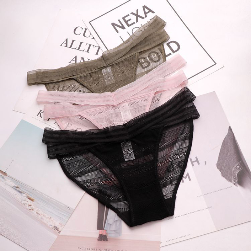 SP&CITY Bandage Design Transparent Underwear Women Hollow Out Lace   Panties   Sex String Thongs Crotch Cotton Briefs Lingerie