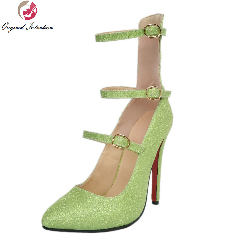 ФОТО Original Intention New Arrival Women Pumps 2017 Stylish Pointed Toe Thin Heels Pumps Fahsion Green Shoes Woman Plus US Size 4-15