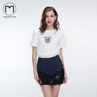 Margin High Street Streetwear Woman Denim Skirt High Waist Patchwork Mini Saias Faldas Short Ladies Jeans