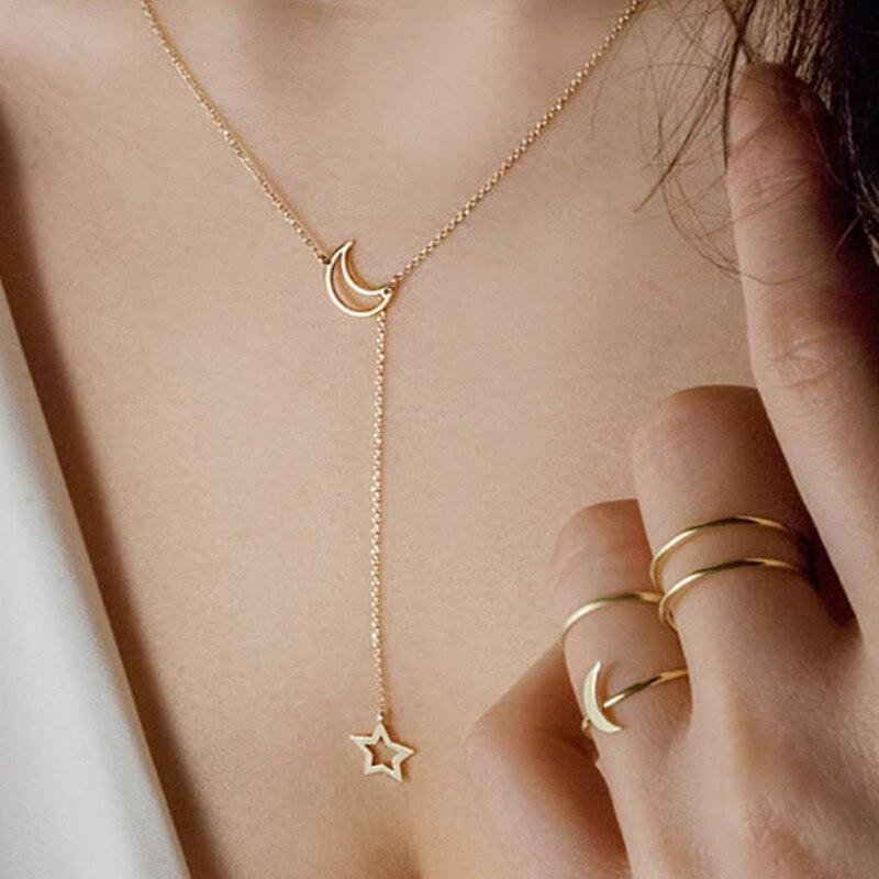 Крошечное ожерелье сердца для женщин Короткая Цепочка Сердце Звезда Кулон Ожерелье Подарок этническое богемское Колье чокер Прямая поставка A64