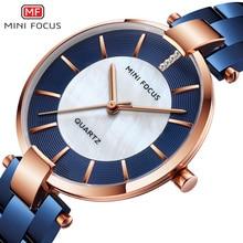 MINI FOCUS Black Stainless Steel Bracelet Watches for Women Fashion Luxury Dress Wrist Watch for Lady Woman Relogios MFW0224Blue
