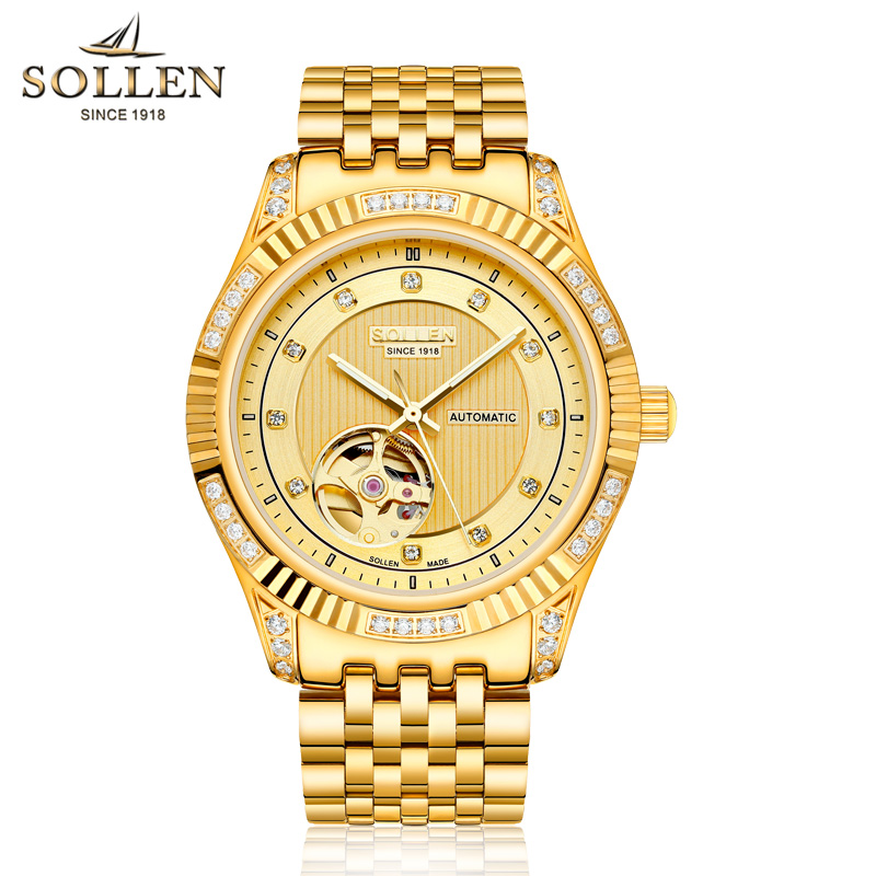 SOLLEN Mens automatic mechanical watch diamond Gold full steel sapphire waterproof luminous male luxury Top brand watches reloj burei man watch top luxury brand male clock diamond sapphire mechanical wristwatches gold steel band waterproof watches hot sale
