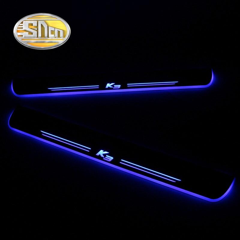 SNCN 4 pièces acrylique mobile LED bienvenue pédale voiture plaque de seuil de porte pédale voie de seuil lumière pour Kia K3 2015 2016 2017 2018