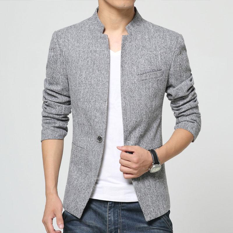 High Quality Blazer Men Fashion 2018 Spring New Stand Collar Casual Mens Blazer Korean One Button Slim Fit Men's Blazers 3XL M