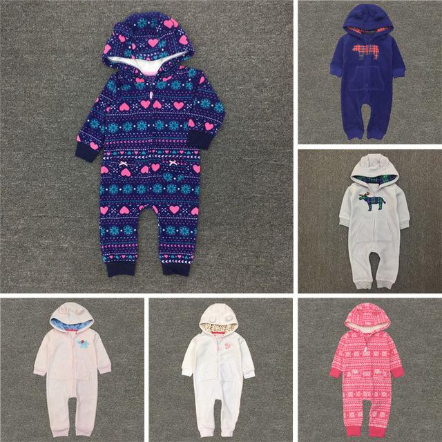 Novo Inverno do Velo Do Bebê Macacão Romper Escalada Roupas Roupas de Recém-nascidos Meninos Meninas Quentes de Espessura Com Capuz Outwear conjunto de roupas de bebê