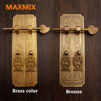 MAXMIX 15cm 18cm Door Handle Chinese Style Retro Pure Copper Antique Chinese Furniture Handle Cabinet Pair