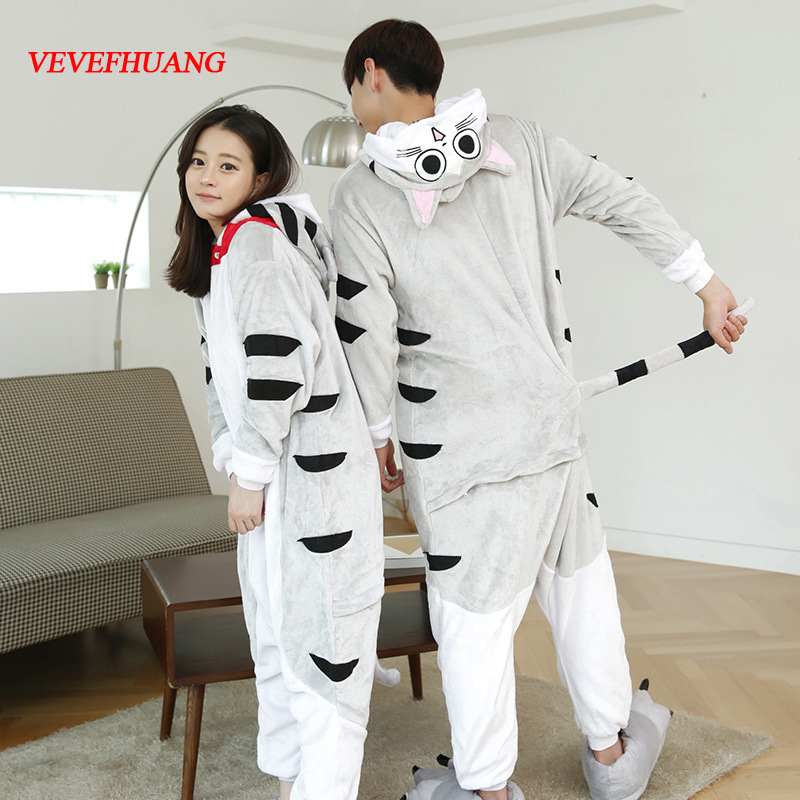 VEVEFHUANG Adult Flannel Chis Sweet Home Pajamas Winter Hooded Conjoined Animal Cosplay Cheese Cat Pyjamas Halloween Costumes