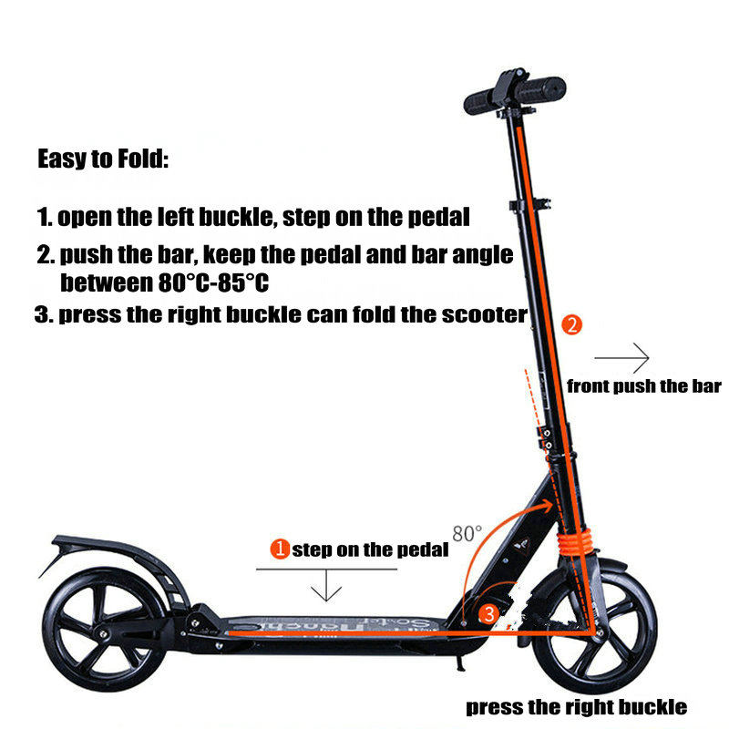 Купить с кэшбэком Adult Scooter with double shock absorption, double brake and 20cm PU wheel adult foldable kick scooter