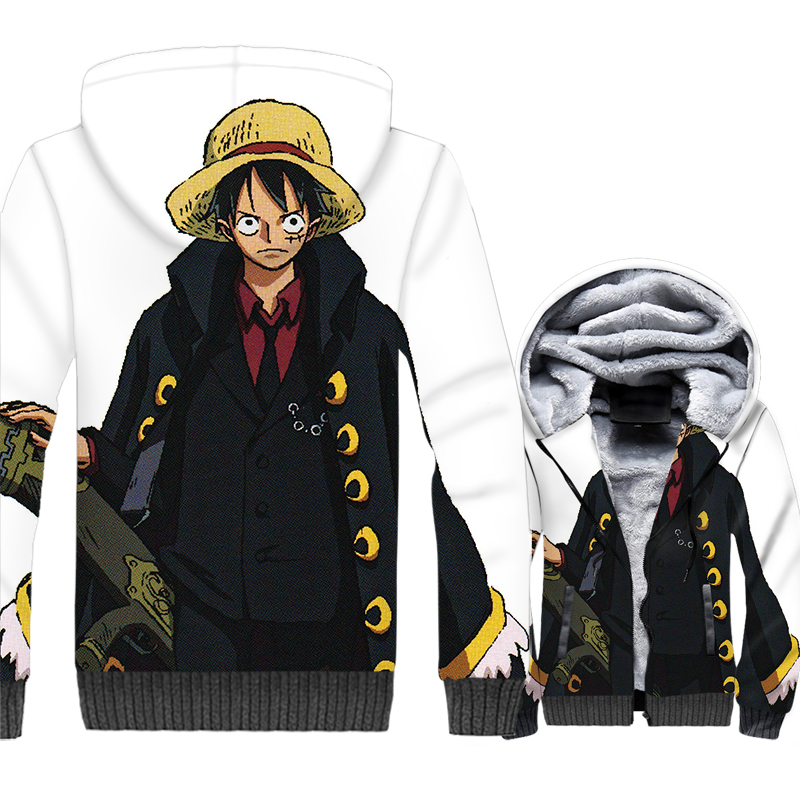 Anime Luffy Jacket Men One Piece 3D Hoodies Zoro Nami Sweatshirts Winter Thick Fleece Zipper The Pirate King Coat Streetwear