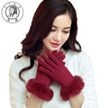 PTAH Women Winter Wrist Rabbit Fur Solid Wool Gloves Ladies Outdoor Thin Inside Velvet Warm Mittens Casual Soft Guantes PT9826