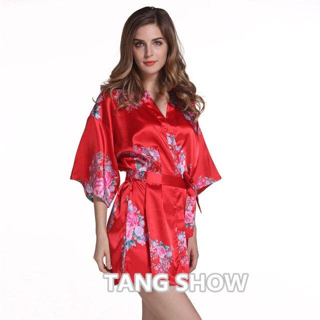 Красный Плюс Размер Китайских женщин Атласная Ночная Рубашка Короткий Халат Платье Новый Стиль Кимоно Халат Сексуальный Цветочный Ночные Платье Пижамы G03