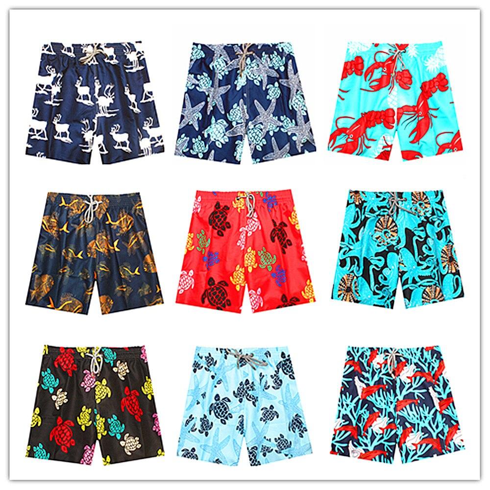 2018 Brand Vile Beach   Board     Shorts   Men Elastic Waist Superflex Stretch Swimtrunks Sexy Man Boardshort Swimwear Turtle Shrimp Elk