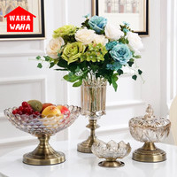 European Retro Glass Vase Metal Alloy Gold Vase Modern Table Artificial Flower Bottle Home Furnishing living room decoration