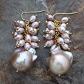 Purple Brown Keishi Keshi Baroque Pearl Earrings Silver Leverback