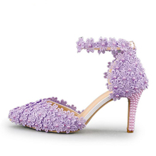 Ankle Strap Summer Sandals Handmade Lace Flower Women Middle Heels Bridal Wedding Shoes Adult Ceremony Pumps Purple Yellow