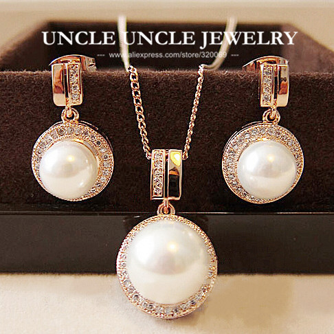Rose Gold Color Shell Round Simulated Pearl Element Rhinestones Micro Setting Luxury Lady Jewelry Set Necklace/Earring Wholesale classical malachite green round shell simulated pearl abacus crystal 7 rows necklace earrings women ceremony jewelry set b1303