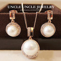 Rose Gold Plated Shell Round Pearl Element Rhinestones Micro Setting Luxury Lady Jewelry Set Necklace/Earrings Wholesale