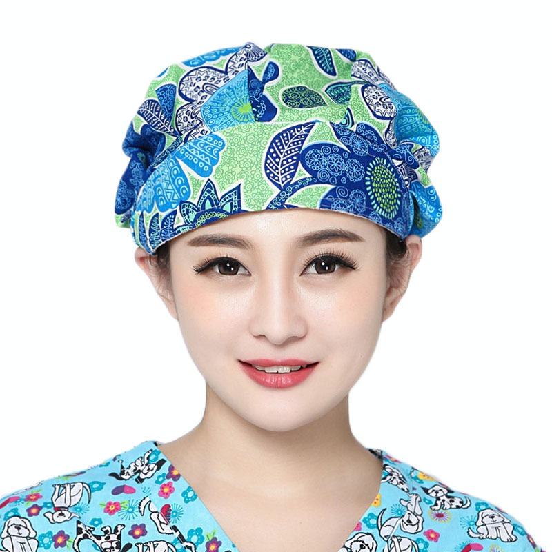 Doctor Scrub Caps Womens Surgical Hats with Sweatband Inner for Women Clinic Workwear Cap Long Hair Cotton Scrub Surgical Caps