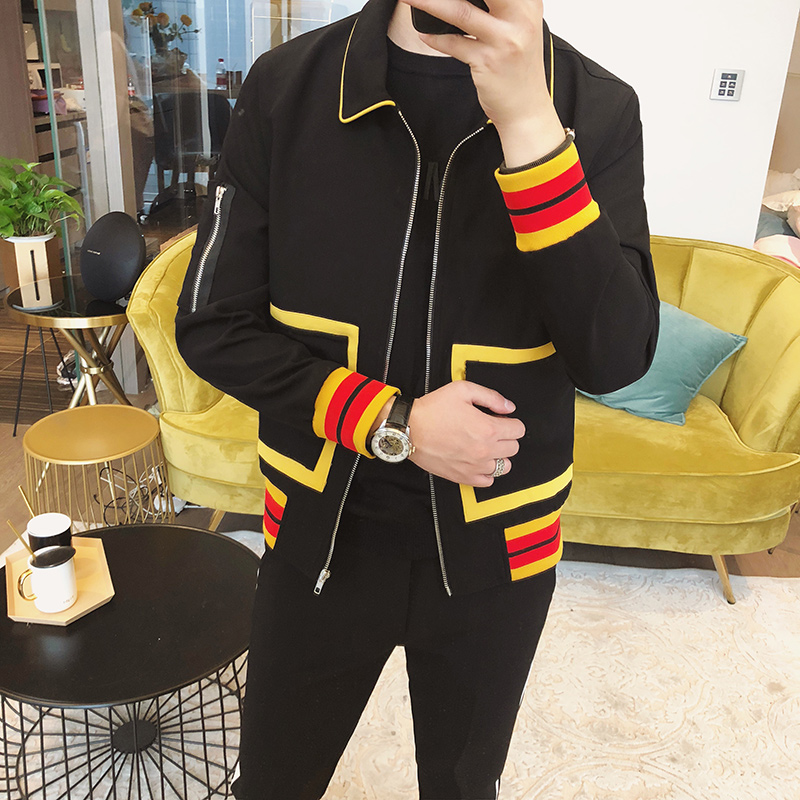 2018 tide male new Korean version of the British wind personality male jacket jacket hair stylist fashion clothing