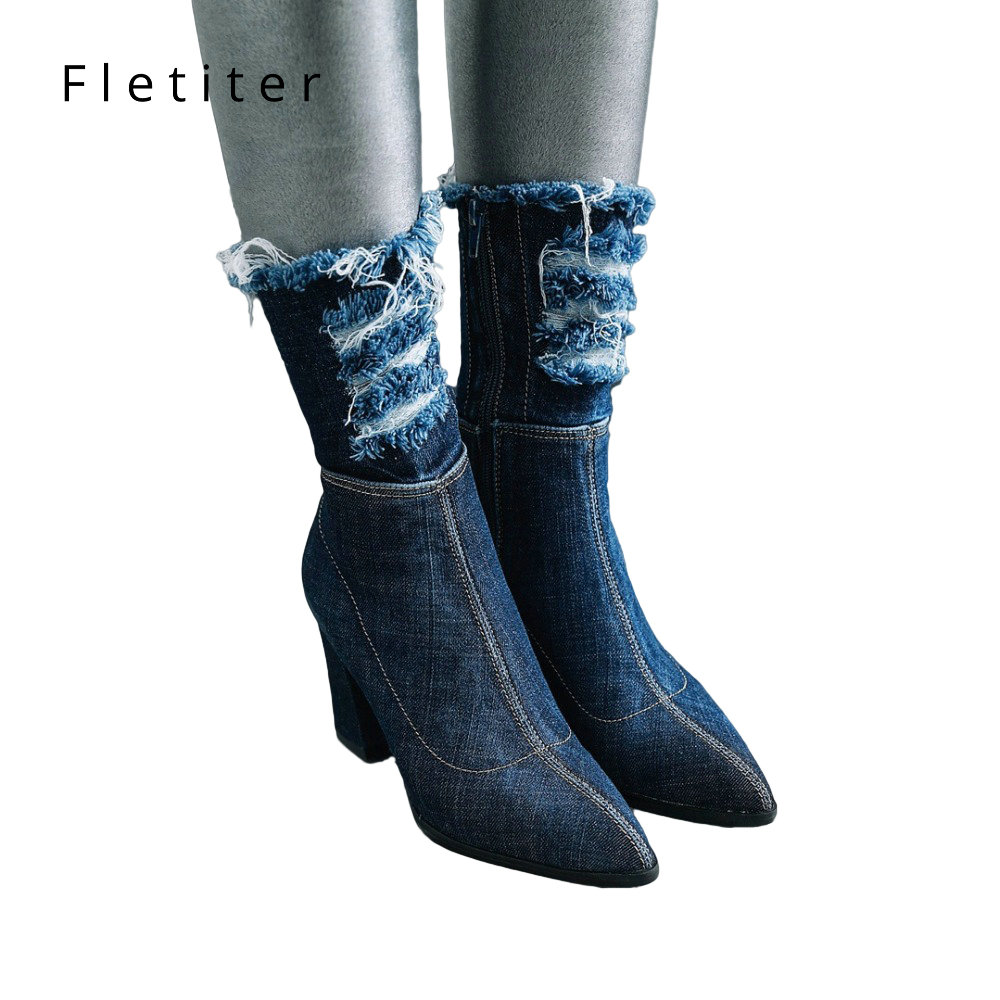 Women Ankle Boots Plus Size 34-43 Square Heel Zip Pointed Toe Fashion Denim Womens casual Shoes Dark Blue Ladies boot Fletiter women boots plus size 34 43 fashion round toe ankle boots zip lady winter boot woman shoes black brown blue sneakers women n229