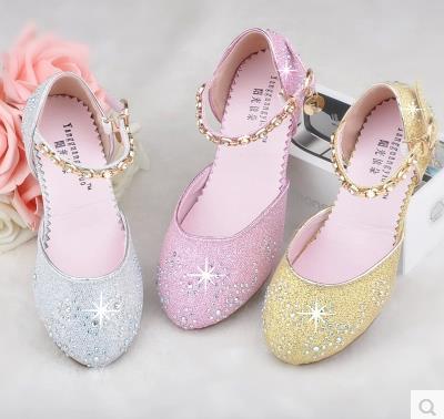 Envío gratis fiesta de niña de tacón alto elsa zapatos infantil - Zapatos de niños