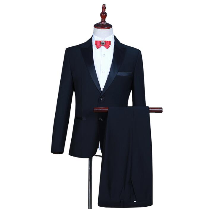 Singer Stage Photo Studio Take A Photo Clothing For Men Groom Suit Set With Pants Mens Wedding Suits Costume Formal Dress Black