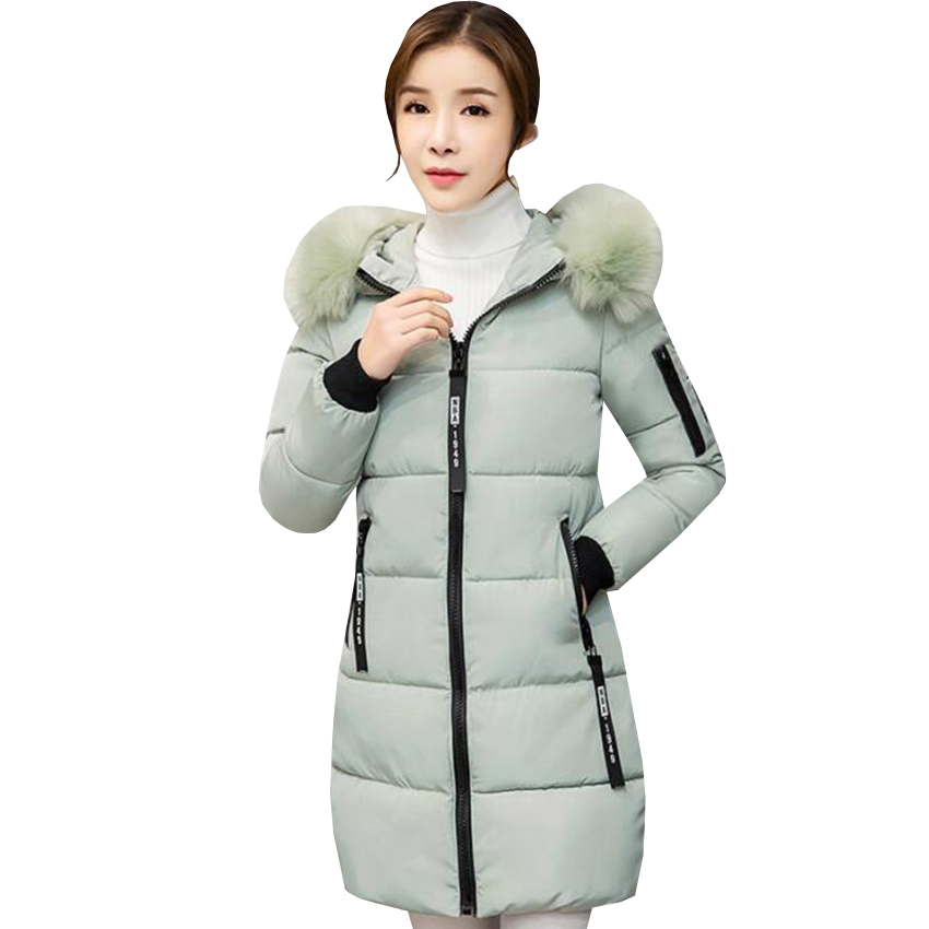 new winter women jacket down cotton padded coat large faux fur collar parka outwear female plus size thick warm long coats AB435 2015 winter new korean female rabbit fur collar down jacket cotton padded jackets women short coat plus size long parks jy 933