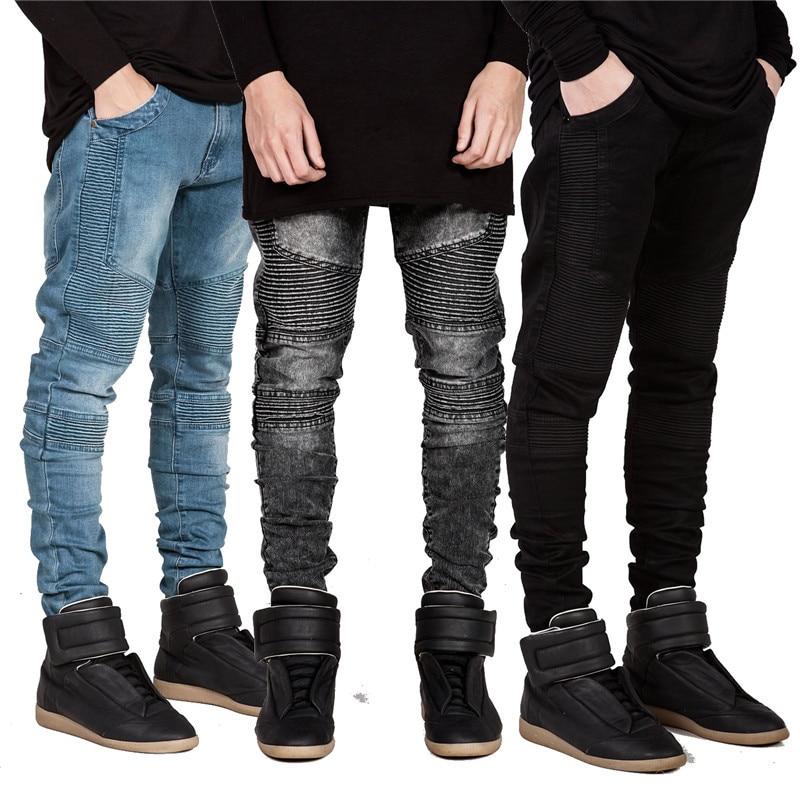 streetwear mens ripped biker jeans homme men 39 s fashion motorcycle slim fit black blue gray moto. Black Bedroom Furniture Sets. Home Design Ideas