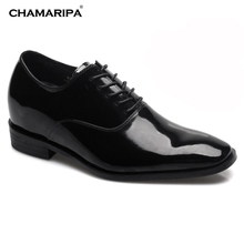 CHAMARIPA Increase Height 7cm/2.76 inch Elevator Shoes Glossy Men Hidden Height Increase Shoes Patent Leather Tuxedo Shoes