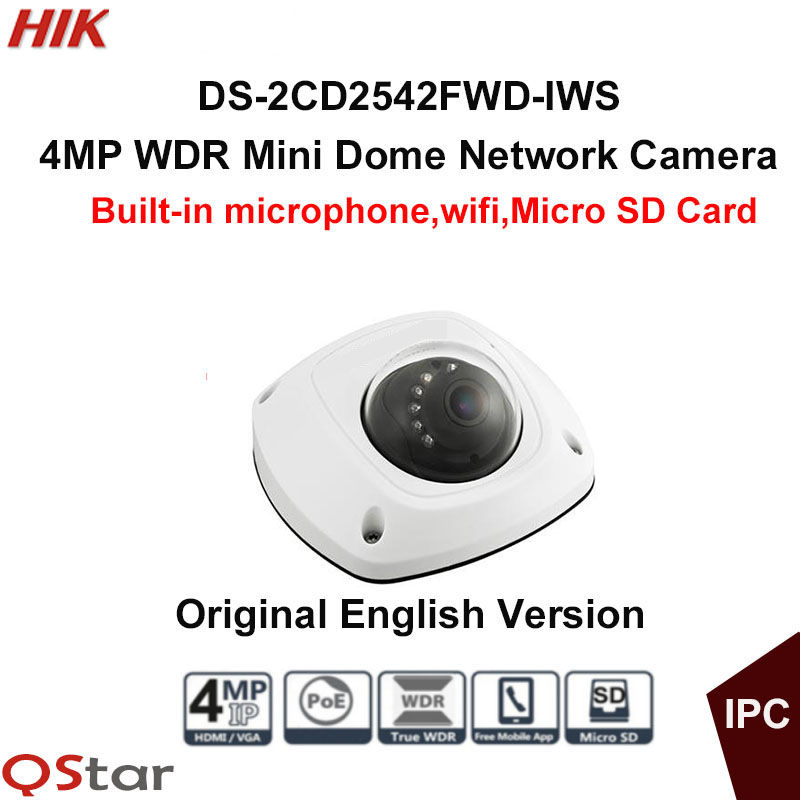 Hikvision Original English WIFI CCTV Camera DS-2CD2542FWD-IWS 4MP Dome IP Camera POE built in microphone WIFI Camera подводка для глаз жидкая гелевая 4 г the saem цвет черный