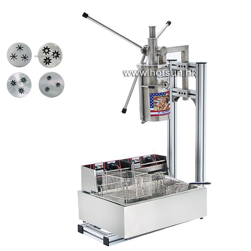 Commercial 5L Manual Spanish Donut Churrera Churro Filling Maker Machine with 12L 110v 220v Electric Deep Fryer fast food leisure fast food equipment stainless steel gas fryer 3l spanish churro maker machine