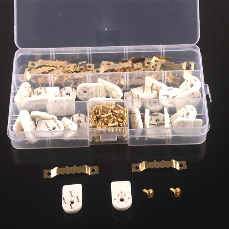 1 set Saw Tooth Hanging frame hook Bracket Clock Picture photo frame hanger seamless needle nail home decor